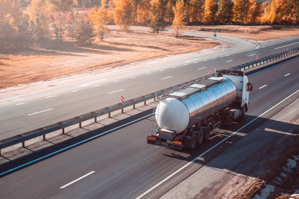 fuel tanker truck. freight transportation. stock photo