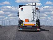 fuel tanker track moves on highway
