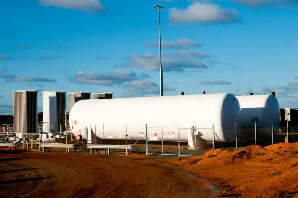 Fuel Tanks on Mine Site - Australia stock photo