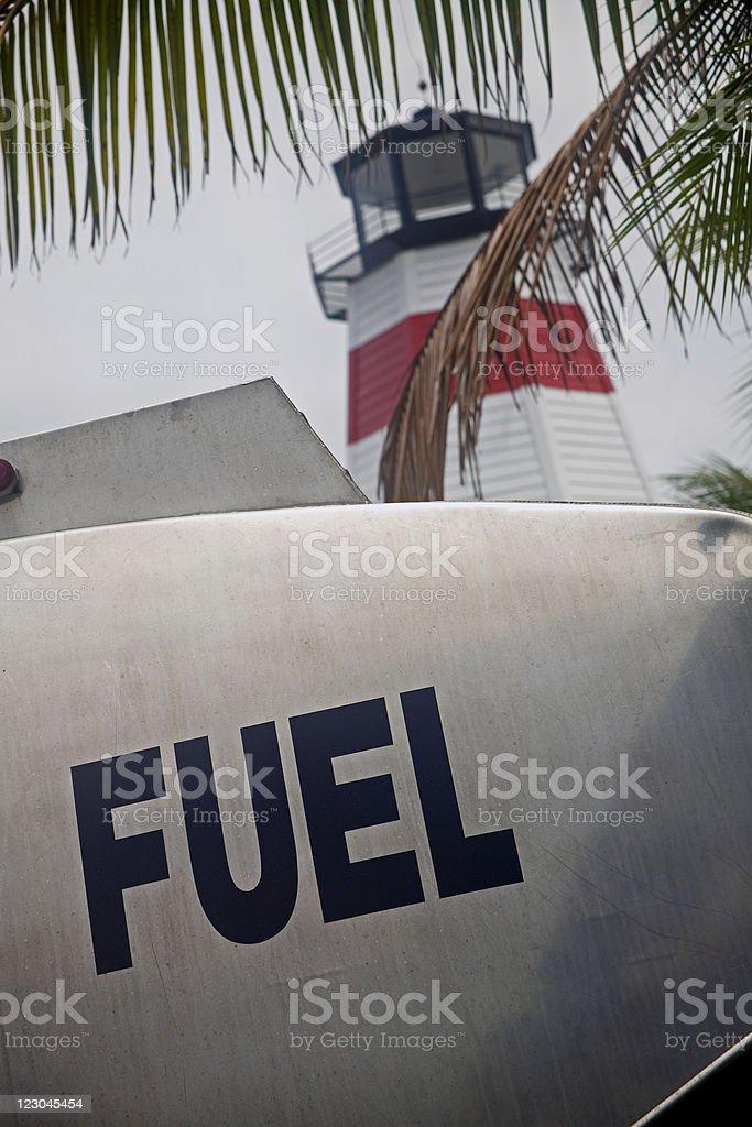 Fuel Truck and Marina royalty-free stock photo