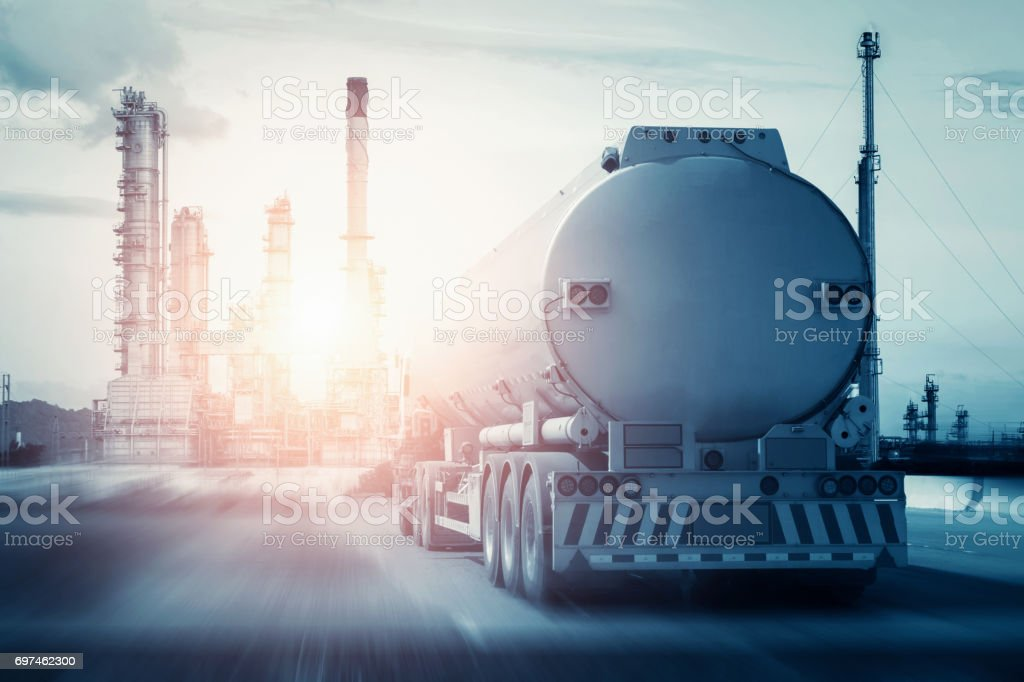 fuel truck in motion on highway and blurred background stock photo