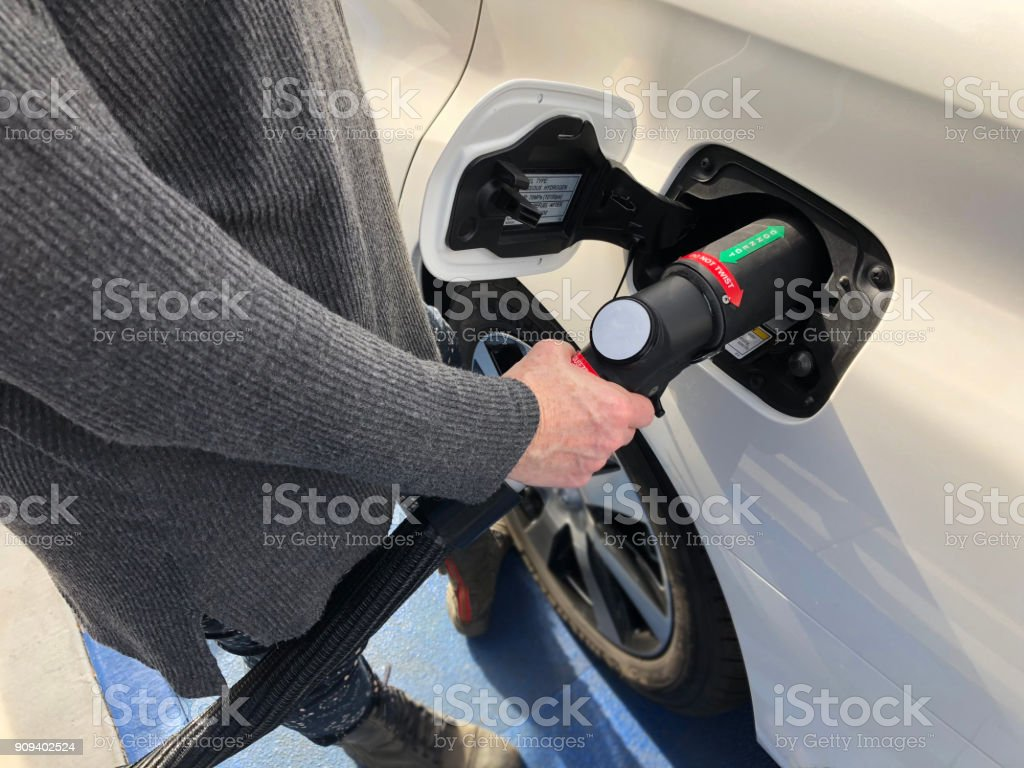 Fueling Hydrogen Vehicle stock photo