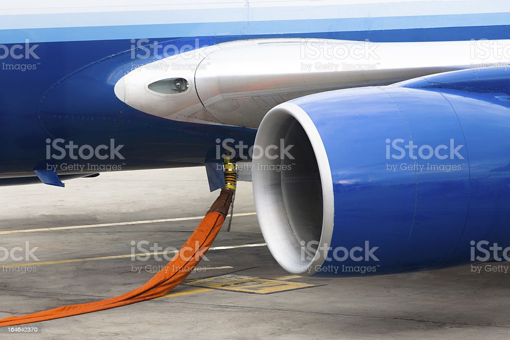 Fuelling the Jet Engine stock photo