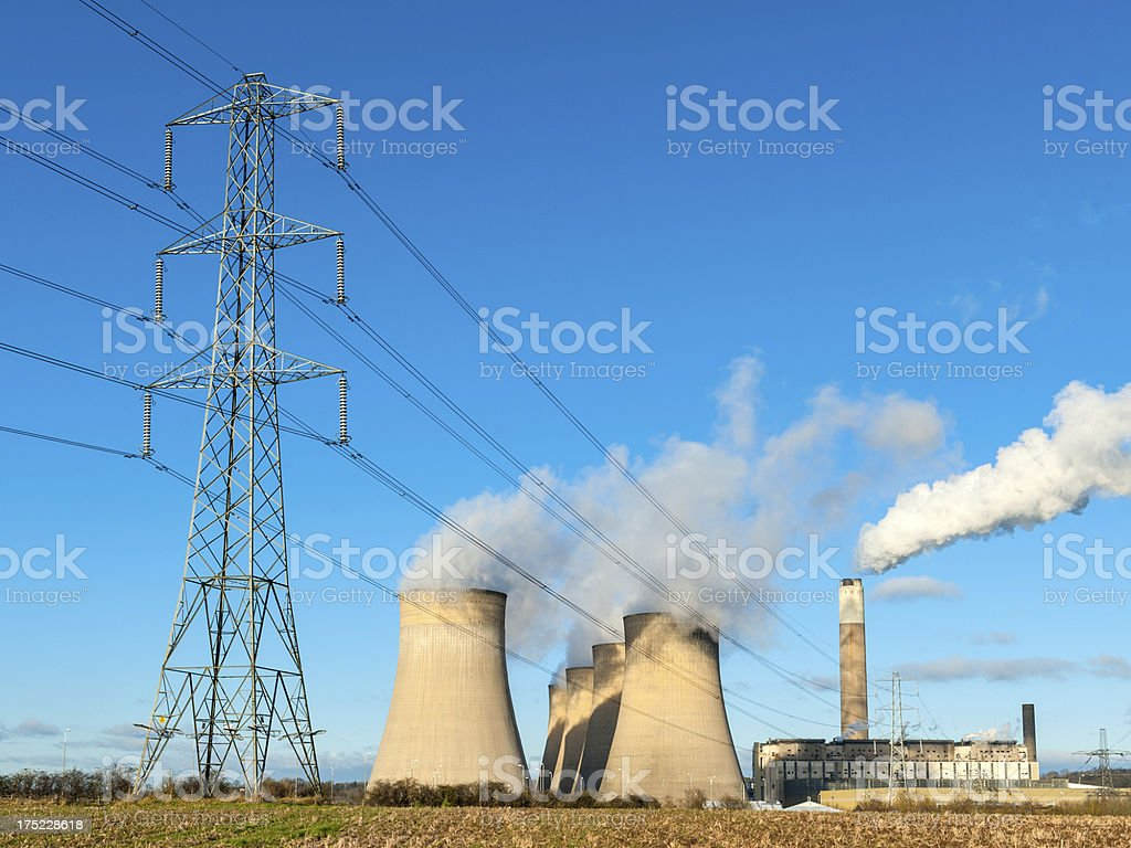 Fuel/Power Generation, Cooling Towers and Pylon stock photo