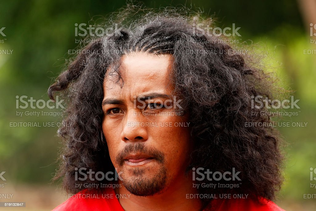 Fuifui Moimoi gives interview upon arrival in Tonga. stock photo
