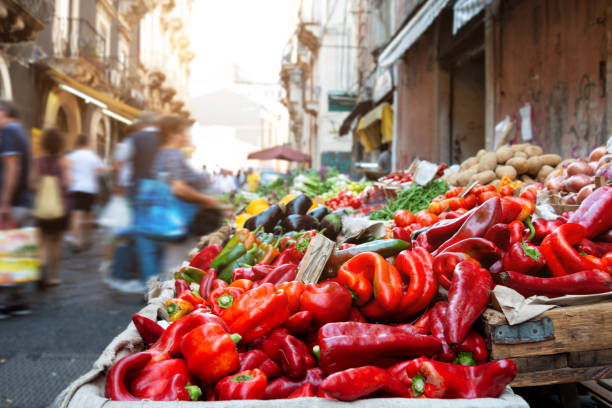 Fuits and vegetables at open air market in Catania, Sicily,  Italy. stock photo