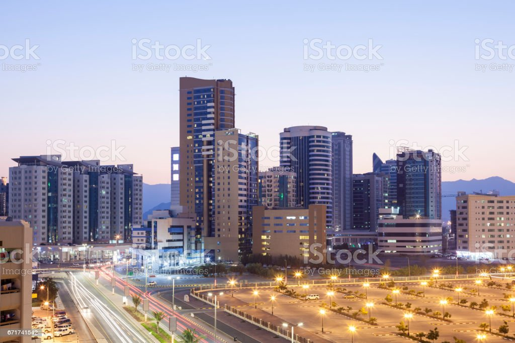 Fujairah City at night, UAE – Foto