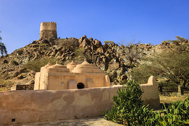 Fujairah, United Arab Emirates: The Al Badiyah Mosque On The Coastal Road To Khor Fakkan. Completed in 1446 AD, It Is The Oldest Mosque In The Country stock photo
