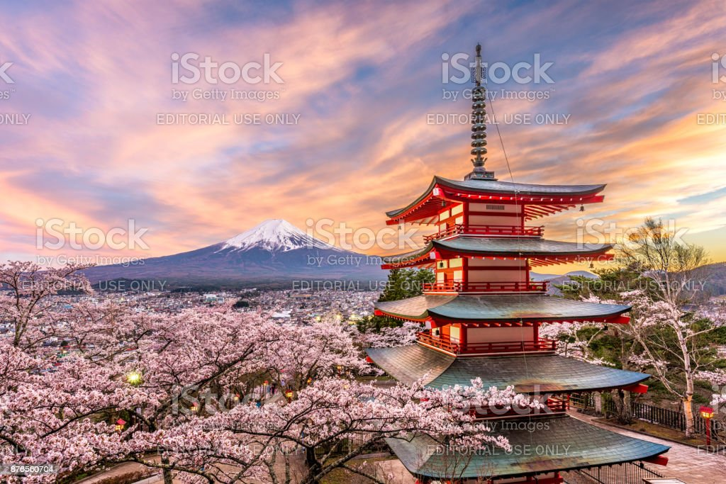 Fuji Japan in Spring stock photo