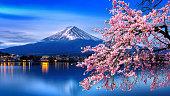 富士山と春の桜
