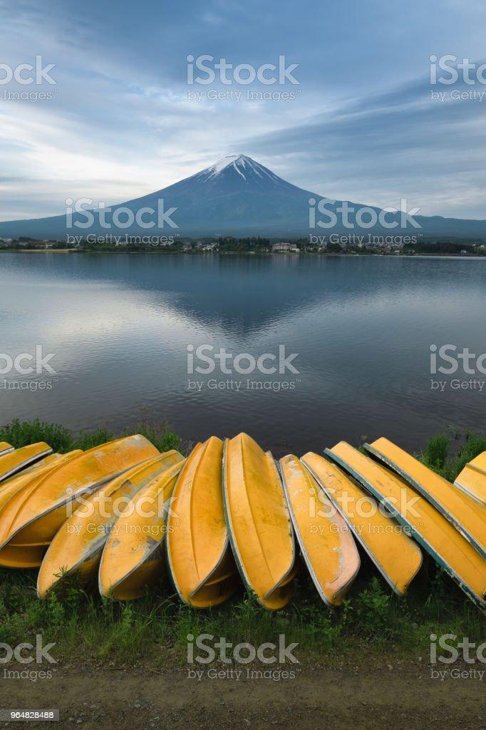 Fuji mountain and fishing boats royalty-free stock photo