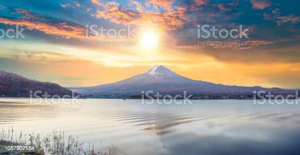 Photo of Fuji mountain and Kawaguchiko lake in morning, Autumn seasons Fuji mountain at yamanachi in Japan.
