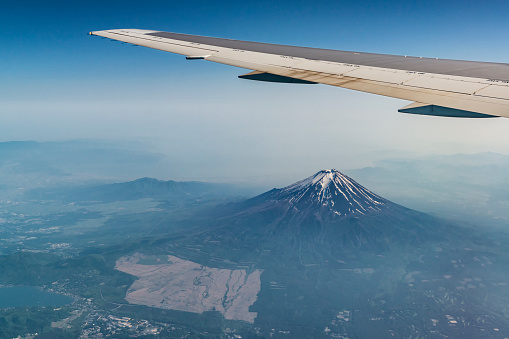 Fuji Mountain And Plane Ving Photo From The Airplane Stock Photo - Download Image Now