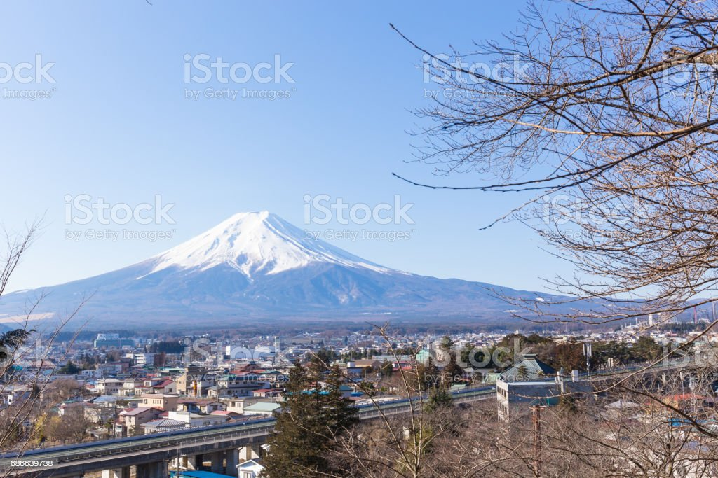 Fuji mountain and the city view in morning of winter royalty-free stock photo