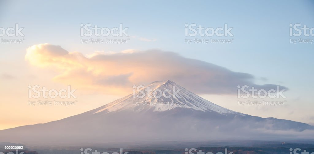 Fuji mountain in japan, morning sky with the explosion cloud in winter. stock photo