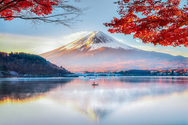 후지산, 가을의 아침 미스트가 있는 붉은 단풍나무와 어부보트, 가와구치코호, 일본 - 경관 뉴스 사진 이미지