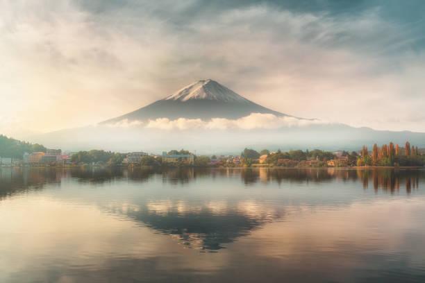 Fuji mountain reflection on water with sunrise landscape stock photo