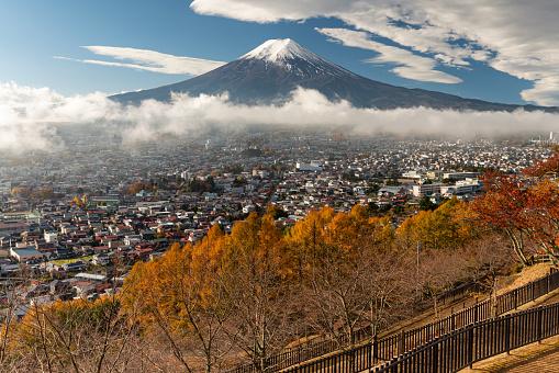 Fuji Mountain with a cloud fog cover