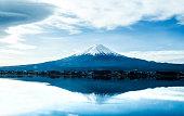 日本の風景、青い空と富士山