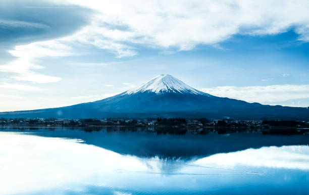 Fuji mountain with blue sky, landscape in Japan stock photo