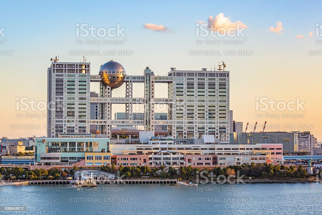 Fuji TV Building  at sunset stock photo