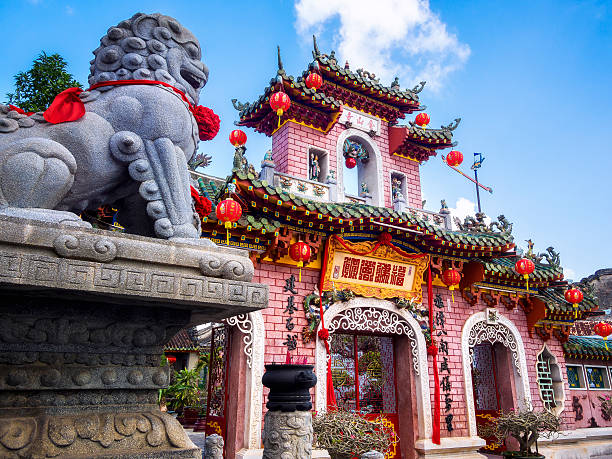 Fujian Assembly Hall in Hoi An Ancient Town, Vietnam Fujian Assembly Hall (Phuc Kien), built around 1690 in the UNESCO-listed Hoi An Ancient Town, Central Vietnam. hanoi stock pictures, royalty-free photos & images