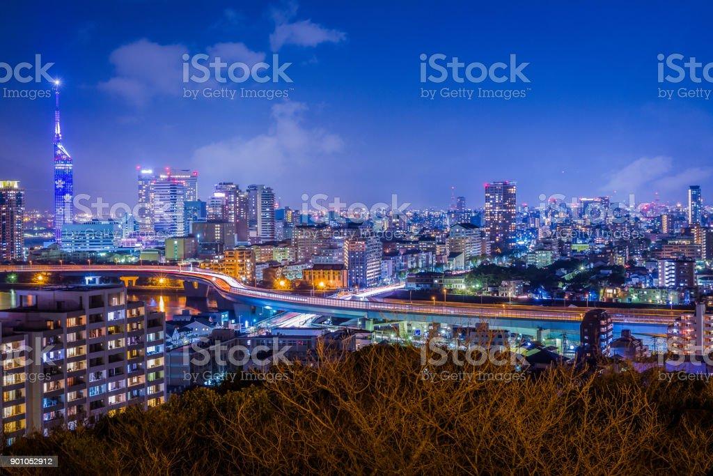Fukuoka Night Cityscape, Early Spring stock photo