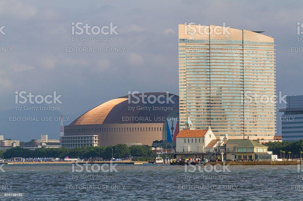 Fukuoka Yafuoku! Dome & Hilton Seahawk stock photo