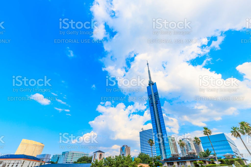 Fukuoka,Japan - July 20,2018 -  Fukuoka tower in Japan.This tower of 234 meters above sea level is the tallest beach tower in Japan. stock photo