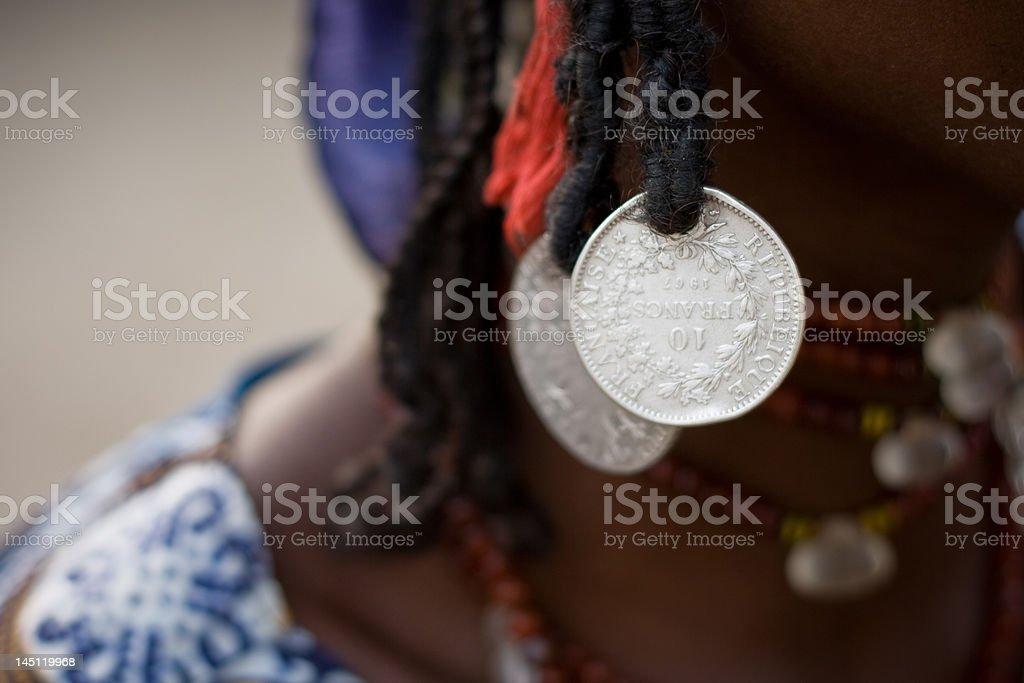Fulani woman's jewelry royalty-free stock photo