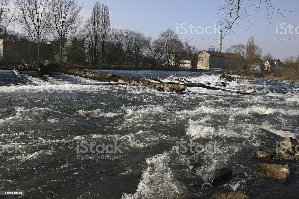 Fulda-Wehr nahe Neue Mühle bei Kassel stock photo