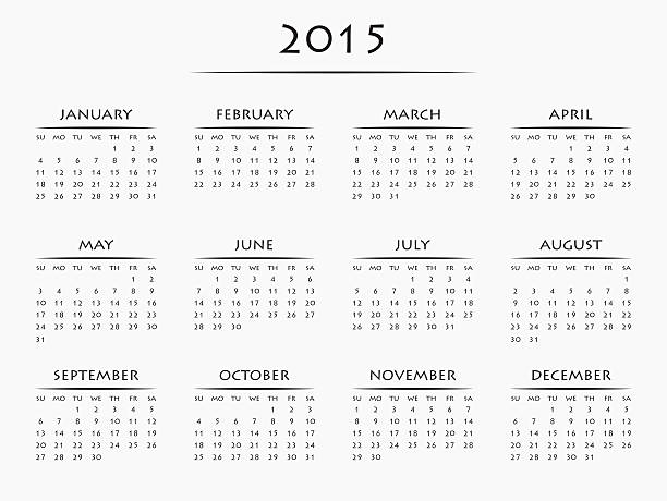 Full 12 month calendar for the year 2015 stock photo
