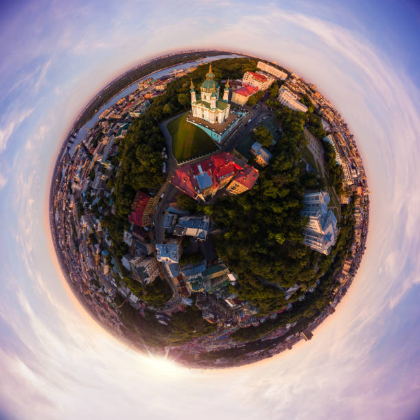 Full aerial view panorama 360 degrees of Kiev city, St. Andrew's Church, Andrew's descent and the historical part of the city . Kiev. Ukraine. stock photo