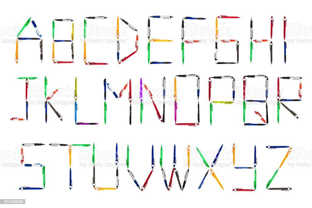 Full alphabet made up using ballpoint pens stock photo