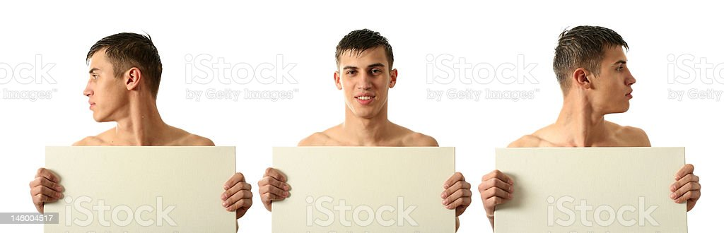 Full and Half Face Man Holding Copy Space Blank Billboard stock photo