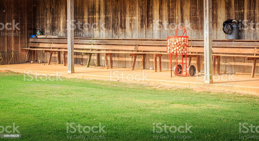 Full Baseball Basket and Dugout stock photo