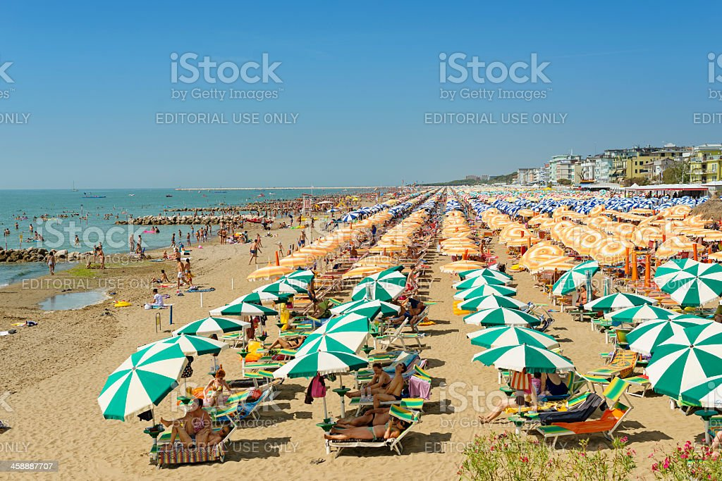 Full beach in Caorle stock photo