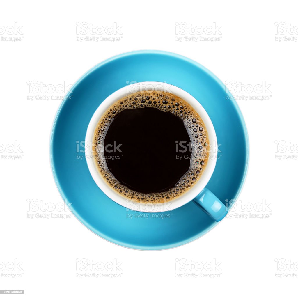 Full black coffee in blue cup close up isolated stock photo
