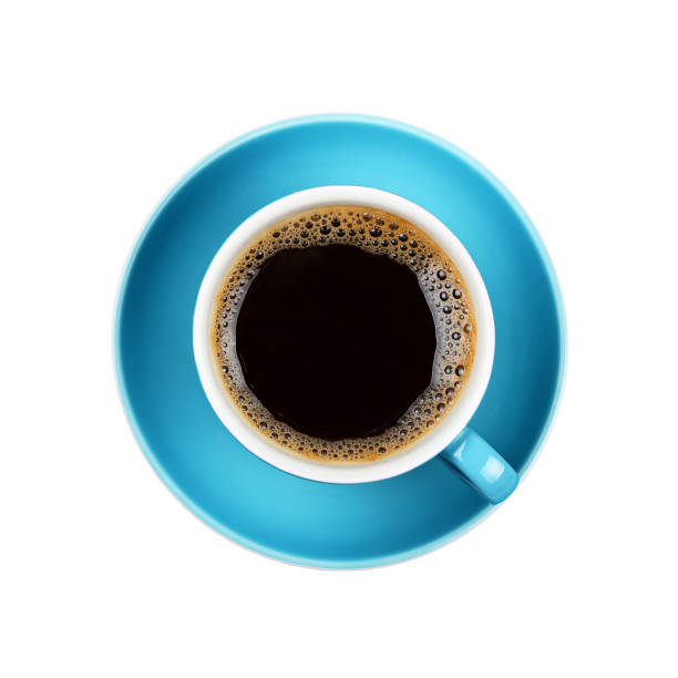 full black coffee in blue cup close up isolated - café solúvel imagens e fotografias de stock