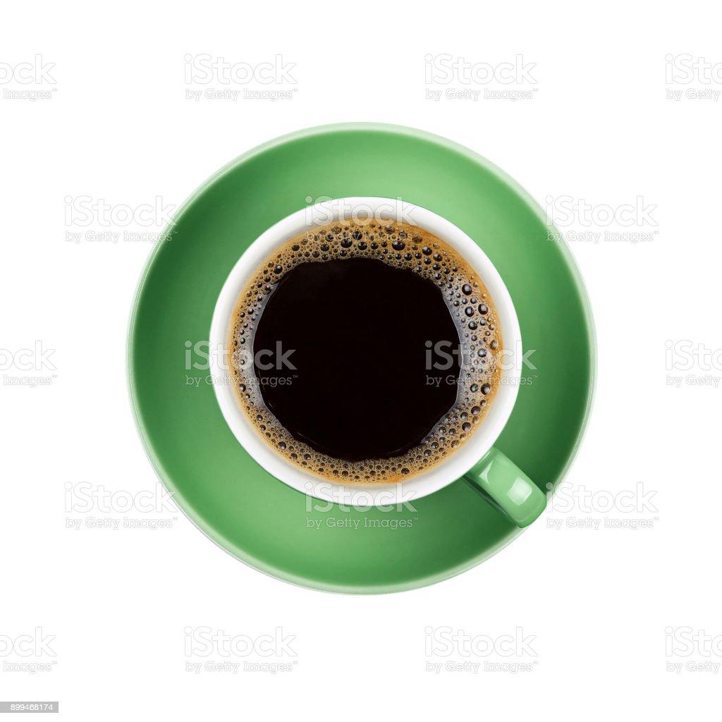 격리를 녹색 컵 가까이에 전체 블랙 커피 스톡 사진