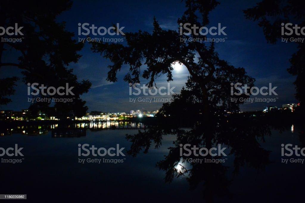 Full Blue Flower Moon stock photo