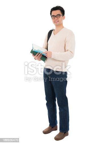 istock Full body Asian adult student 186936470