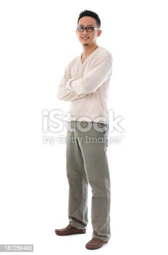 istock Full body Asian man in casual wear 187256463