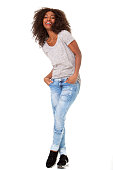 Full body portrait of fashionable young african american woman posing on white background