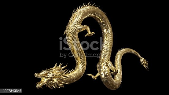 Full body gold dragon in bend body pose with 3d rendering include alpha  path.