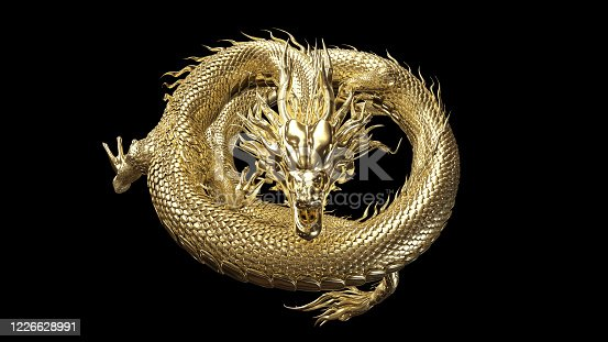 istock Full body gold dragon in coin body pose with 3d rendering include alpha path. 1226628991