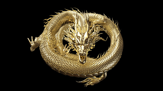 Full body gold dragon in coin body pose with 3d rendering include alpha path.