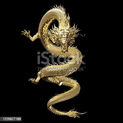 Full body gold dragon in smart pose with 3d rendering include alpha clipping path.