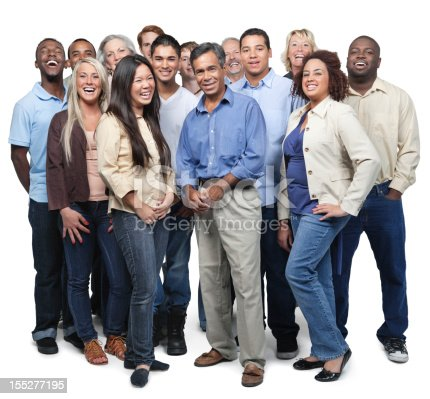 istock Full body group of casually dressed diverse business people 155277195