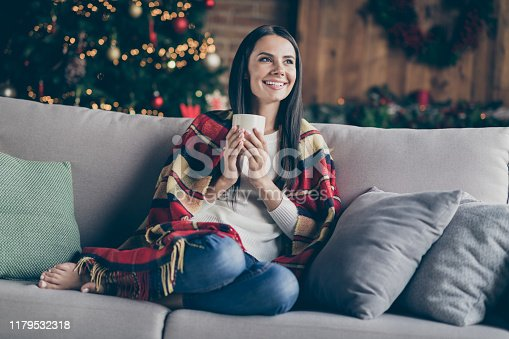 Full body photo of calm girl sit divan covered checkered plaid blanket have, noel relax in her house with christmas lights illumination hold mug with hot beverage inpsired imagine indoors